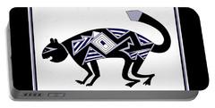 Portable Battery Charger featuring the digital art Mimbres Mountain Lion by Vagabond Folk Art - Virginia Vivier
