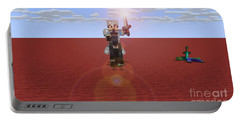 Portable Battery Charger featuring the digital art Minecraft Knight by Brindha Naveen