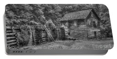 Portable Battery Charger featuring the photograph Mingus Mill Black And White Mingus Creek Great Smoky Mountains Art by Reid Callaway