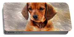 Mini Dachsund Dog Oil Painting Portable Battery Charger