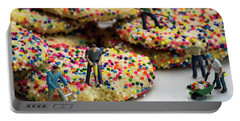 Miniature Construction Workers On Sprinkle Cookies Portable Battery Charger