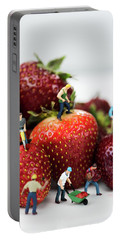 Miniature Construction Workers On Strawberries Portable Battery Charger