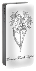 Miniature Daffodil Botanical Drawing Black And White Portable Battery Charger
