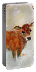 Portable Battery Charger featuring the painting Nicholas The Miniature Zebu Calf by Barbie Batson