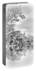 Minimalist Fall Scene In Black And White Portable Battery Charger