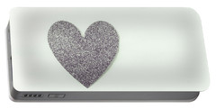 Minimalistic Silver Glitter Heart Portable Battery Charger