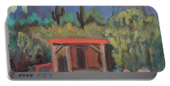 Portable Battery Charger featuring the painting Mining Camp At Superstition Mountain Museum by Diane McClary