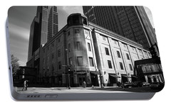 Portable Battery Charger featuring the photograph Minneapolis Downtown Bw by Frank Romeo