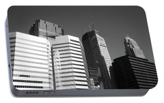 Portable Battery Charger featuring the photograph Minneapolis Skyscrapers Bw 5 by Frank Romeo