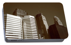 Portable Battery Charger featuring the photograph Minneapolis Skyscrapers 5 Sepia by Frank Romeo