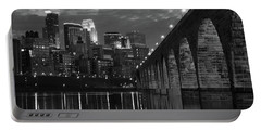 Minneapolis Stone Arch Bridge Bw Portable Battery Charger