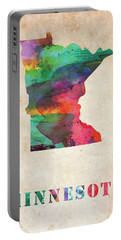 Minnesota Colorful Watercolor Map Portable Battery Charger