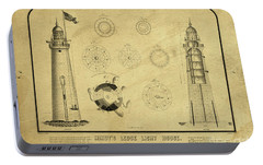 Portable Battery Charger featuring the drawing Minot's Ledge Light House. Massachusetts Bay by Vintage