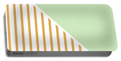 Mint And Gold Geometric Portable Battery Charger by Linda Woods