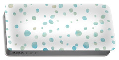 Mint Blue Watercolor Confetti Dots Portable Battery Charger by P S