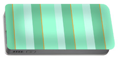 Portable Battery Charger featuring the mixed media Mint Green Stripe Pattern by Christina Rollo