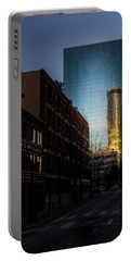 Mirror Reflection Of Peachtree Plaza Portable Battery Charger