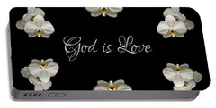 Portable Battery Charger featuring the photograph Mirrored Orchids Framing God Is Love by Rose Santuci-Sofranko