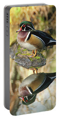 Mirrored Wood Duck Portable Battery Charger