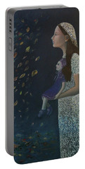Portable Battery Charger featuring the painting Miss Frost Watching The Autumn Dance by Tone Aanderaa