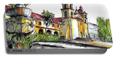 Portable Battery Charger featuring the painting Mission Santa Barbara by Terry Banderas