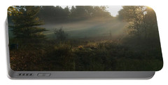 Portable Battery Charger featuring the photograph Mist In The Meadow by Pat Purdy