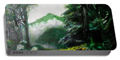 Portable Battery Charger featuring the painting Mist On The Mountain by Seth Weaver
