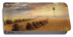 Portable Battery Charger featuring the photograph Misty Amish Sunrise by Lori Deiter
