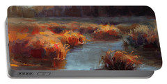 Portable Battery Charger featuring the painting Misty Autumn Meadow With Creek And Grass - Landscape Painting From Alaska by Karen Whitworth