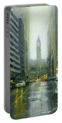 Misty Bay Street Portable Battery Charger by Michael Swanson