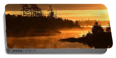 Misty Dawn At Gabbro Lake Portable Battery Charger