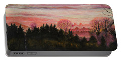 Misty Evening On Ernie Lane Portable Battery Charger by Ron Richard Baviello