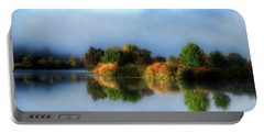 Misty Fall Colors On The River Portable Battery Charger