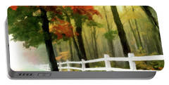 Portable Battery Charger featuring the painting Misty In The Dell P D P by David Dehner