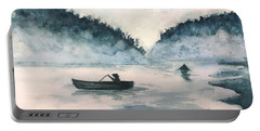 Portable Battery Charger featuring the painting Misty Lake by Lucia Grilletto