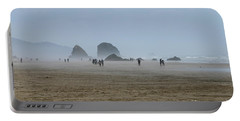 Misty Morning At Cannon Beach Portable Battery Charger