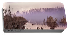 Misty Morning At Vaseux Lake Portable Battery Charger by John Poon