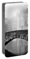 Misty Morning Canal In Bruges Portable Battery Charger