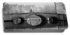 Portable Battery Charger featuring the photograph Misty Morning In Bruges  by Barry O Carroll