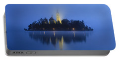 Misty Morning Lake Bled Slovenia Portable Battery Charger