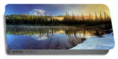 Misty Morning Lake Portable Battery Charger by William Lee