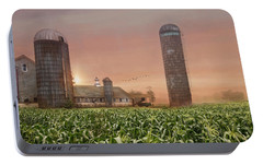 Portable Battery Charger featuring the photograph Misty Morning Maize by Robin-Lee Vieira