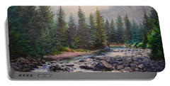 Misty Morning On East Rosebud River Portable Battery Charger
