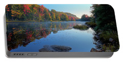 Misty Morning On The Pond Portable Battery Charger