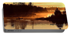 Misty Morning Paddle Portable Battery Charger by Larry Ricker