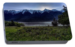 Portable Battery Charger featuring the photograph Misty Mountain Morning Meadow  by Darcy Michaelchuk
