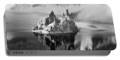 Portable Battery Charger featuring the photograph Misty Phantom Ship Island Crater Lake B W  by Frank Wilson