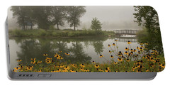 Misty Pond Bridge Reflection #3 Portable Battery Charger