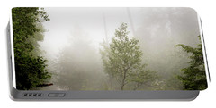 Misty Road At Forest Edge, Pocono Mountains, Pennsylvania Portable Battery Charger
