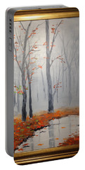 Misty Stream In Autumn Portable Battery Charger